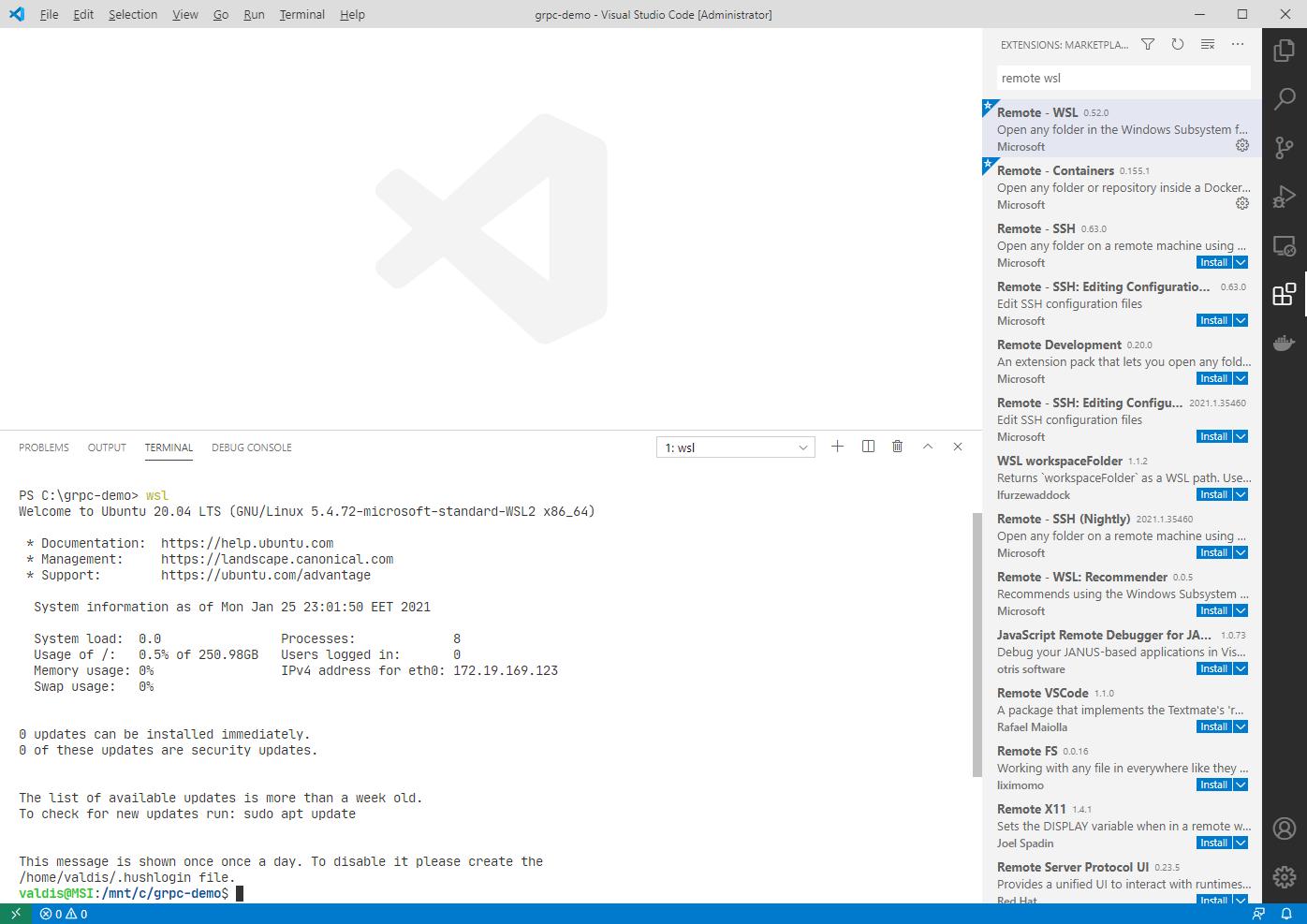wsl-in-vscode