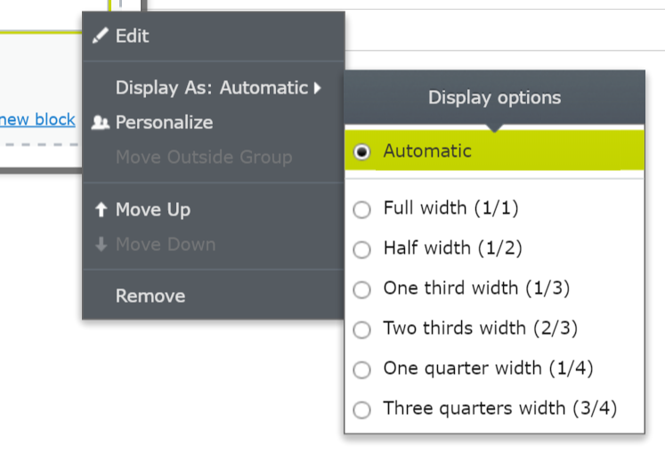 Specify Default DisplayOption in the Content Area